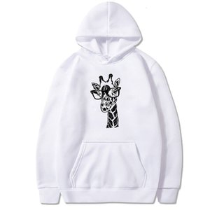 Fun Giraffe Pattern Printed Long-sleeved Hooded Fleece Hoddies for Teens Crewneck Sweatshirt Fall 2020 Women Clothing