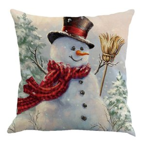 Marry Christmas Pillow Case Canvas 45 * 45cm Elk Stampato PACCHETTO INDIVIDUALE PACCHETTO PRODOTTO CUSCINO DI CUSCINO NATALE RETRO PLAid Federa GGB2942