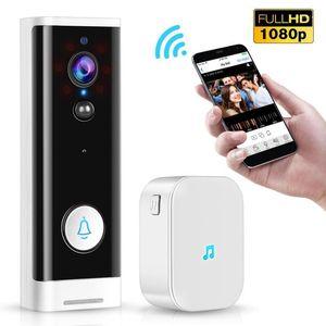 1080P Wifi-Türklingel PIR-Monitor 2-Wege-Intercom-Kamera-Video-Video-Tuya Smart Life-App-Kontroll-Türglocke + Ding Dong EU-Plug -1