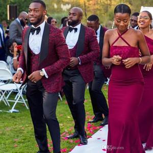 Burgundy Pattern Mens Suits Slim Fit Wedding Grooms Tuxedos Shawl Lapel Formal Blazer Three Pieces Jacquard Prom Suit (Jacket+Pants+Vest)