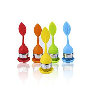 Silikontee Infuser Blatt Silikon Infuser mit Lebensmittelqualität Make Teebeutelfilter Kreative Edelstahl Tee-Sieme DHD3218