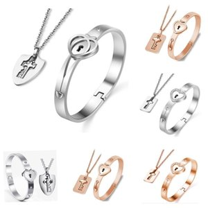 Stainless Steel Love Heart Lock Bracelets Key Pendant Necklace Set Valentine's Day Gift Jewelry Sets HH21-11