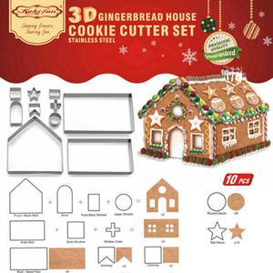 جديد 10 قطعة 3d الزنجبيل بيت كوكي القواطع مجموعة المقاوم للصدأ سيناريو عيد الميلاد البسكويت العفن كعكة أدوات الديكور F1211