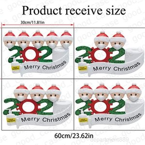 AAA-Quarantine Family Sticker HOT Christmas Ornament cartoon Poster with Face Mask Snowman Kids Wall Window Xmas Cards Party Favor GWE1716