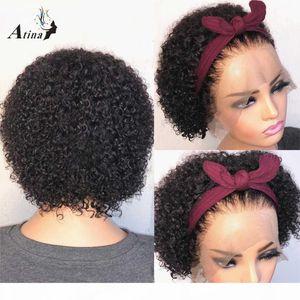 Atina Pixie Cut Short Curly 13x4 Spitze Front Human Hair Perücken Bob Brazilian Vorabbildung Remy Hair Closure Perücken 150 180 250 Dichte