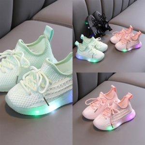 Crianças Casuais LED Primeiro Soft não-Slip Shoes Walkers Kids Sapatos de Criança Respirável Sapatos Verão Bebê Crianças Beach Light Shoe Girls B