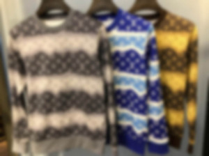 20SS autumn winter new double color matching wide horizontal stripe size letters full print cotton crew neck sweater Men Designer high quali