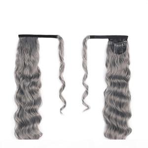 Personalizado natural rizado ondulado gris updo bun moflo pony cola peluquero envuelve alrededor con dos peines Easy Ponytail Grey Hair Extensions