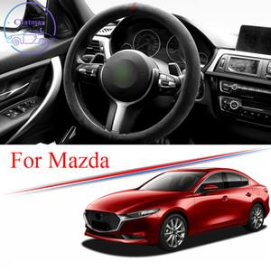 Alcantara Car Steering Wheel Cover Suede Trim Strip for MAZDA 2 3 6 CX-3 CX-5 CX-8 CX-9 MX-30 Universal 38cm 15 Inches Interior Accessories