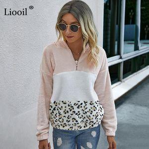 Lioil Patchwork Leopard stampa con cappuccio Donna 2020 Peluche Blocco a colori Zip con tasche Autunno Felpe invernali e pullover1