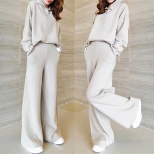 autumn winter Women Solid Color Hooded Pullover Knit Sweater + Casual Wide Leg Pants Fashion Two Piece Set LJ201123