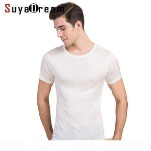 Men Basic T Shirt 100%natural Silk Solid Shirt Short Sleeve Top Mens Silk Top White Navy Grey 2018 New Spring Summer Y190509