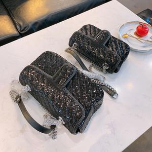 Neueste Designer Frauen Taschen Luxurys Pailletten Umhängetasche echtes Leder glänzend Silber Hardware Herren Handtaschen Geldbörse Tasche mit Kasten