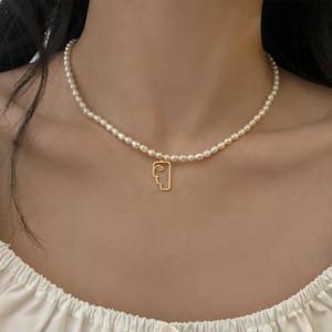 Anhänger Halsketten Aomu Mode Natürliche Perle Halskette Geometrische abstrakte Gesicht Blume Bowknot Für Frauen Choker Schmuck Zubehör