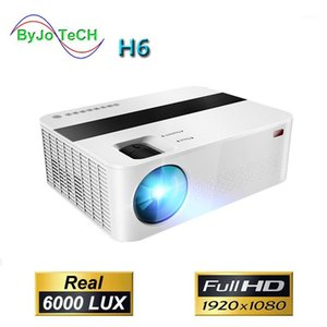 ByJoTeCH H6 1920x1080 Full HD 1080P Projector 6000 lumens Proyector Video cinema Home Theater Android WIFI optional Beamer T6 UP1