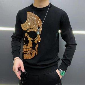 Winter New Arrival Design Hot Diamond Men's Sweater Skull Pattern Black Casual Knit Printed Top Warm Star 2021 Plus Size