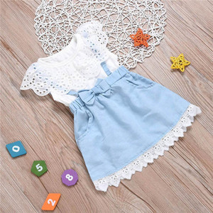 Clearance sale Kids Dress Girl Dress Summer Lace White T Shirts Baby Denim Skirt Kid Dress Child Clothes Kids Clothing Girls Clothes Z77