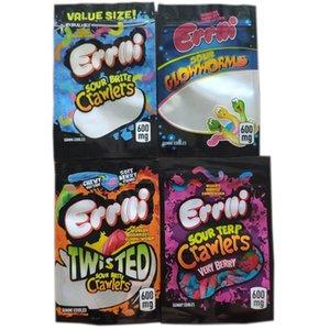 Novo 420 Edibles Embalagem Mylar Bags Shark Gummies Sour Brite Crawlers Sourp Crawlers Muito Berry Sour Twist Clow Worms Gum Edibles Sacos
