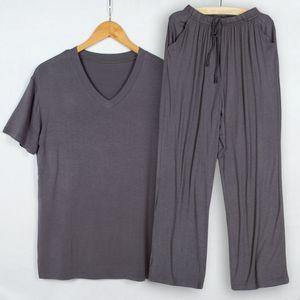 Summer pajamas men modal thin pijama hombre V-neck short-sleeved tshirt trousers sleep two piece set loungewear plus size Q1202