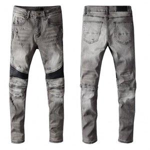 Sıcak Satış erkek Sıkıntılı Yırtık Skinny Jeans Moda Erkek Kot Motosiklet Moto Biker Nedensel Erkek Denim Pantolon Hip Hop Erkek Kot