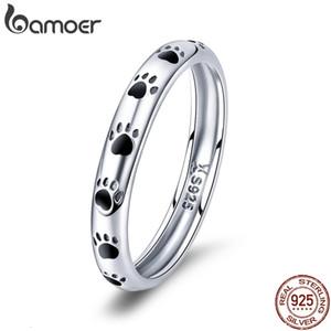 Bamoer 925 Sterling Sterling Silver Pilable Dog Cat Improntini dito anelli per le donne Wedding Ring Gioielli Regalo di San Valentino Dono SCR445