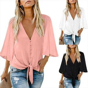 Hirigin New Arrival Autumn Women Long Sleeve Chiffon Shirt Sexy Deep V Neck Button Camisetas Mujer Blouse Top Blusas Plus Size