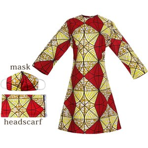 MD 2020 New African Print Wax Dress Women 100% Cotton Dashiki dress+headwrap+mask Wedding Party Dress Plus Size Ladies Clothing