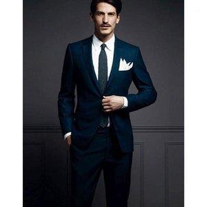 مخصص الدعاوى الزفاف رفقاء التلبيب التلبيب العريس البدلات الرسمية السماء الزرقاء الرجال الدعا الذكور الأعمال عارضة (سترة + سروال) 1