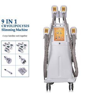 Machine de cryolisolyse graisse Cryolipolysis Sculptant 4 poignées de cryo 360 degrés Fat Freeze Vide Cavitation RF Minceur Machine
