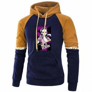 One Piece Nico Robin Hoodie Hip Hop Осень Пуловер Япония Аниме Толстовки Флис Раглан Толстовки Мода Улица Спецсессии # Fe94