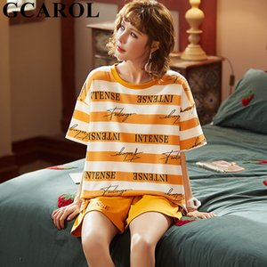 Gcarol Womencotton Pijama Setleri 2 Adet Karikatür Çok Baskılı Ev Giysileri Tatlı Sleepshirt Girlsclothes LJ200921 dışında giyilebilir