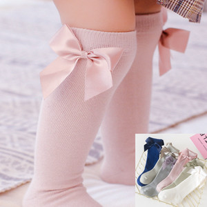 INS 6 Colors Girls Princess Ribbon Bows Socks Newborn Toddlers Infant Big Bow Over Knee Long Stockings Kids Cotton Lace Ruffle Baby Socks