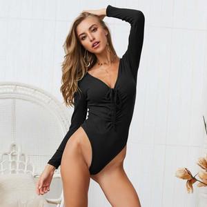 Kadın Tulumlar Tulum 2021 Bahar Örme Bodysuit Kadınlar Lace Up Uzun Kollu Seksi Bodysuits Ince Bodycon Tulum Kadın V Yaka Bayanlar