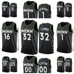 MinnesotaLobosHombres Karl-Anthony Malik Beasley Towns 2020/21 Swingman City Basketball Jersey Negro Nuevo uniforme