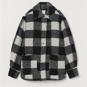 HM women's new fall 2019 polo long sleeve black and white plaid blended soft tweed Pocket Shirt coat 0787160