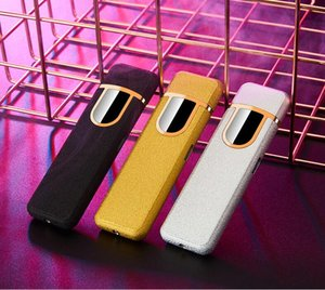 12 Styles Wholesale USB Rechargeable Lighters Electronic Cigarette Lighter Flameless Touch Screen Switch Colorful Windproof Lighter 8833