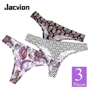 3 قطع / مجموعة النساء سيور سراويل سلس الحرير الجليد الإناث g-strings مثير طباعة القطن المنشعب السيدات t- الظهر ملخصات