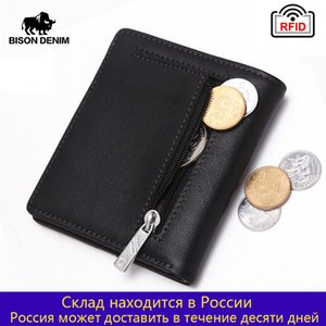 Bison Denim Fashion Véritable Cuir Véritable RFID Mini portefeuille porte-carte Small Zipper Coin Porte-monnaie W9317 Q1220