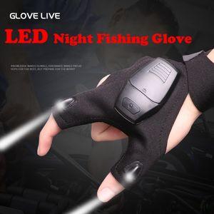 Guantes de pesca con luz LED transpirable duradera correa mágica sin dedos Flashlight Torch Tapa guantes Herramientas de rescate Engranaje al aire libre