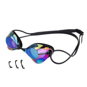 Men Women Professional Swimming Goggles Anti-fog Glasses Food Grade Silicone Frame Adult Competition Eyewear with Nose Clip