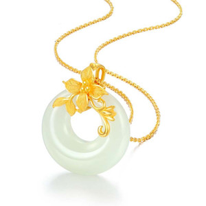 Silver Inlaid Natural Hetian Jade Pendant Necklace Flower Branch Chinese Style Retro Elegant Charm Light Luxury Women's Jewelry