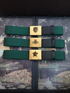 classic big gold tiger bee star buckle men belts best quality genuine leather with green web women belt with box men designers belts