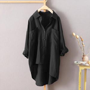 Women Buttons Down Asymmetrical High Low Casual Shirt Tops Blouse Black Long Sleeve Shirt Female Turn down Collar Blouse T1G