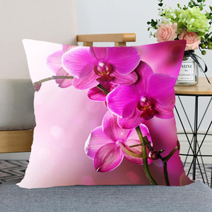 New Arrival Orchid Flower Pillow Cover Bedroom Home Office Decorative Pillowcase Square Zipper Pillow cases Satin Soft No Fade