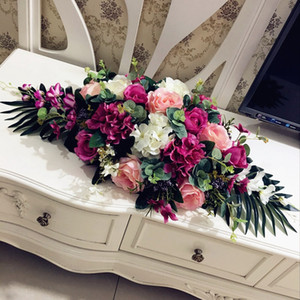 luxury DIY wedding decor table flower runner artificial flower row arrangement table centerpieces rose lily peonies green leaf 80cm