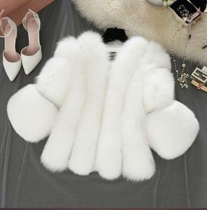 Haining Fur imitation Fox Piel New Style Short Abrigo corto para la manga de la costura de las mujeres Casual y Versátil Estilo corto Mujeres