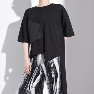 [EAM] Women Black Contrast Color Irregular Big Size T shirt New Round Neck Half Sleeve Fashion Tide Spring Summer 2020 1W220
