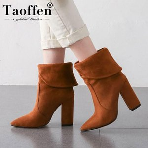 TAOFFEN Ankle Boots For Women Sexy Pointed Toe Winter Warm Fur Shoes Women Fashion Suede Office High Heel Boots Size 34-43