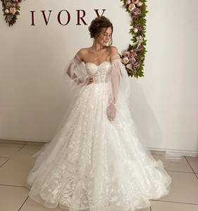 Exquisite Lace Floral Puff Sleeve Wedding Dress 2021 Sweetheart Long Train vestido novia Corset Back Bridal Dress Plus Size