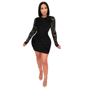 2020 new design women's autumn and winter round neck long sleeve lace sexy pure color dress 737